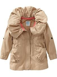 Shirred-Collar Twill Jackets for Baby