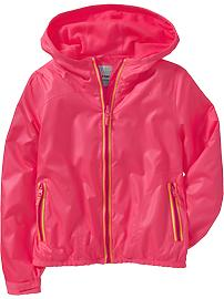 Girls Hooded Mesh-Lined Windbreakers