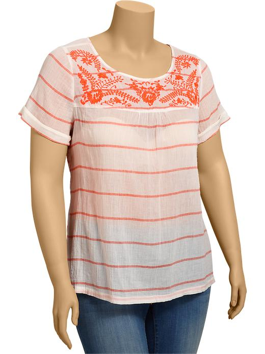 Old Navy Womens Plus Embroidered Gauze Tops plus size,  plus size fashion plus size appare