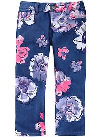 Girls Floral Super-Skinny Denim Capris