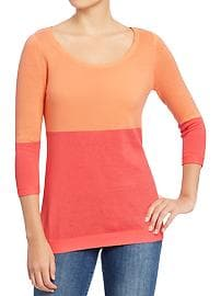 Women's Color-Blocked Lightweight Sweaters