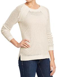 Women's Open-Knit Crew Sweaters