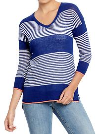 Women's Striped-Dolman Open-Knit Sweaters