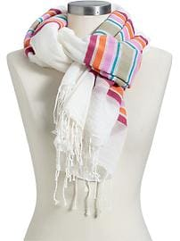 Women's Color-Blocked Fringe Scarves