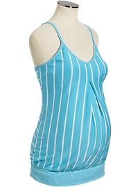 Maternity Striped Pleat-Front Tanks
