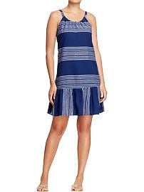 Women's Striped Linen-Blend Tank Dresses