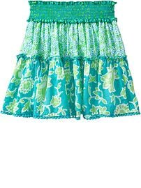 Girls Smocked Floral Skirts
