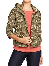Women's Cropped-Canvas Hooded Jackets
