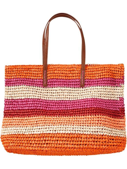 Old Navy Womens Multi Stripe Straw Totes