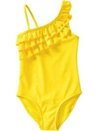 Girls Ruffled One-Shoulder Swimsuits