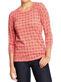 Women's Printed Lightweight-Crew Sweaters