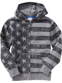 Boys Flag-Print Fleece Hoodies
