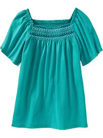 Girls Smocked Square-Neck Tops