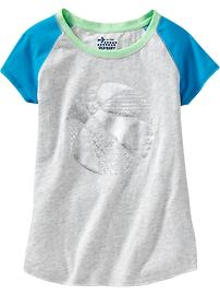Girls Foil-Graphic Raglan Tees