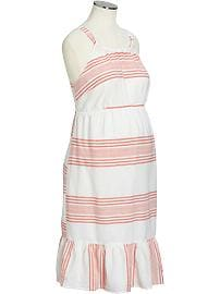 Maternity Striped Linen-Blend Sundresses