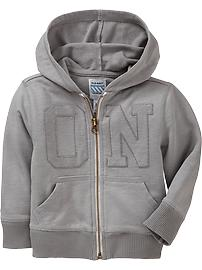 Zip-Front Logo Hoodies for Baby