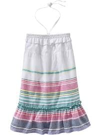 Girls Striped Linen-Blend Sundresses