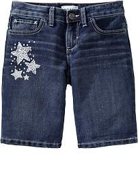 Girls Sparkle Denim Bermudas