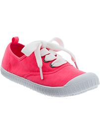 Girls Lace-Up Jersey Sneakers