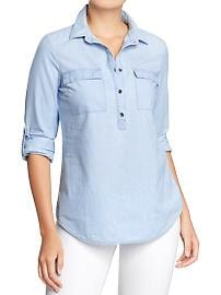 Women's Chambray Tab-Sleeve Tops