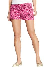 "Women's Printed Cuffed-Twill Shorts (3-1/2"")"