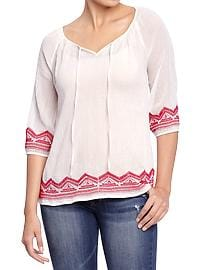 Women's Embroidered Gauze Tops
