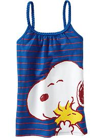 Girls Snoopy&#174 Braided-Trim Glitter Tanks