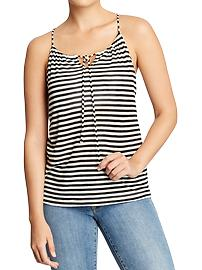 Women's Striped-Keyhole Slub-Knit Tanks