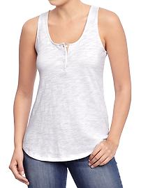 Women's Slub-Knit Henley Tanks