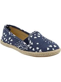 Girls Printed Canvas Espadrille Flats
