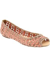 Women's Basketweave Peep-Toe Flats