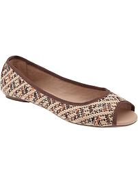 Women's Straw Peep-Toe Flats