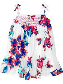 Smocked Floral-Print Sundresses for Baby
