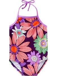 Floral-Print Halter Swimsuits for Baby