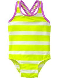 Striped Cross-Back Swimsuits for Baby