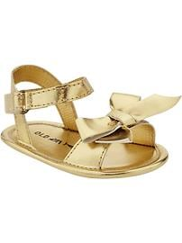 Metallic Bow-Tie Sandals for Baby