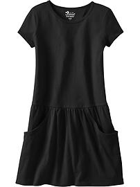 Girls Drop-Waist Pocket Tee Dresses
