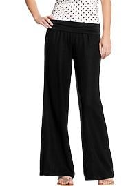 Women's Fold-Over Linen-Blend Pants