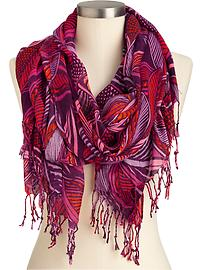 Women's Gauze Leaf-Print Scarves