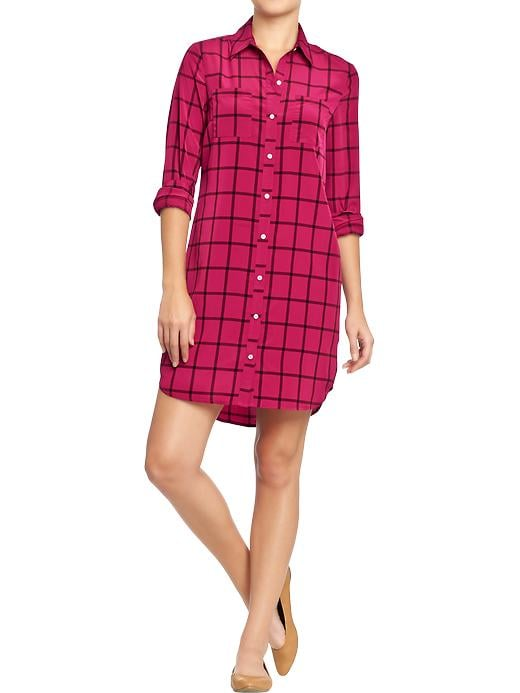 Old Navy Womens Long Sleeve Shirt Dresses - Pink print