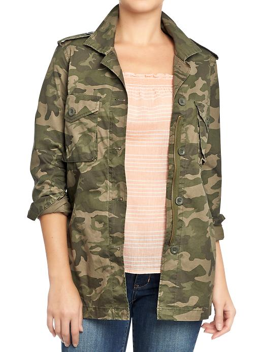 Old Navy Womens Twill Military Style Shirt Jackets - Camouflage pattern