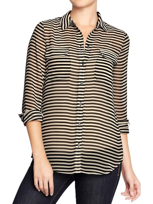 Old Navy Womens Printed Chiffon Shirts - Black stripe