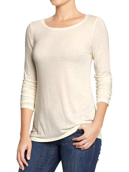 Old Navy Womens Boat Neck Jersey Tees - Sea salt