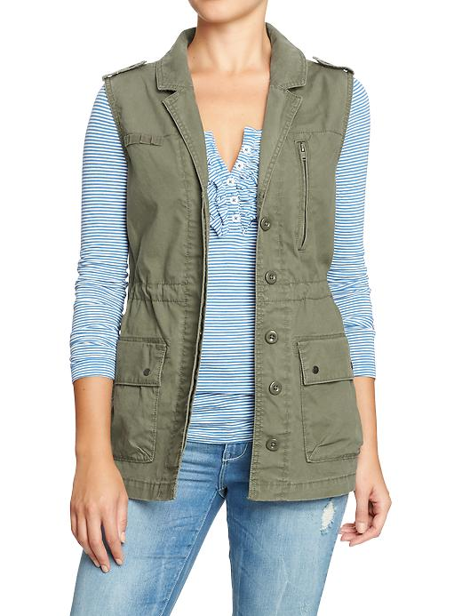 Old Navy Womens Twill Military Style Vests - Alpine tundra