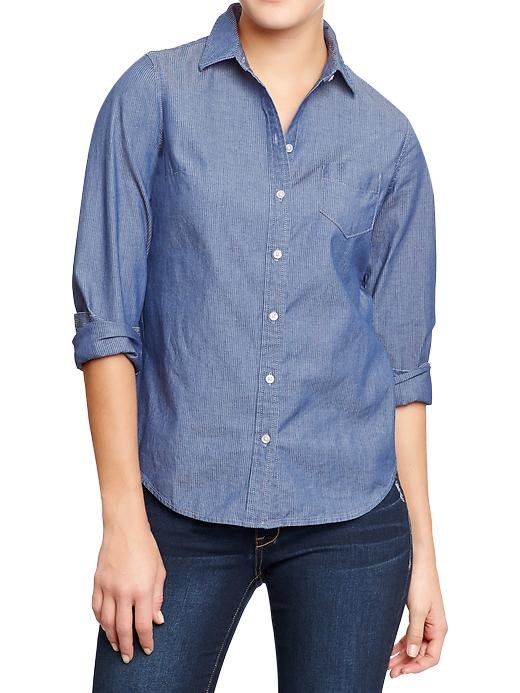 Old Navy Womens Railroad Stripe Chambray Shirts - Dark blue stripe