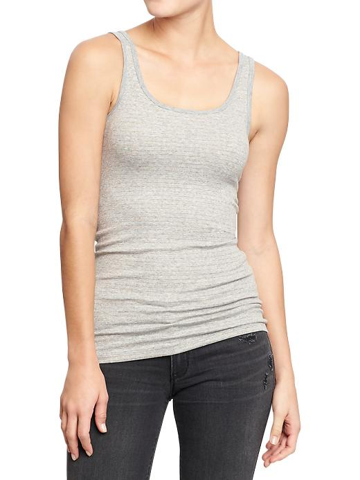 Old Navy Womens Metallic Stripe Tanks - Gray stripe