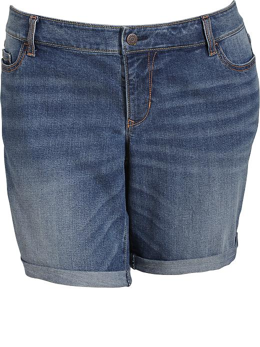 "Old Navy Womens Plus Roll Cuffed Denim Shorts 9"" - Medium wash"