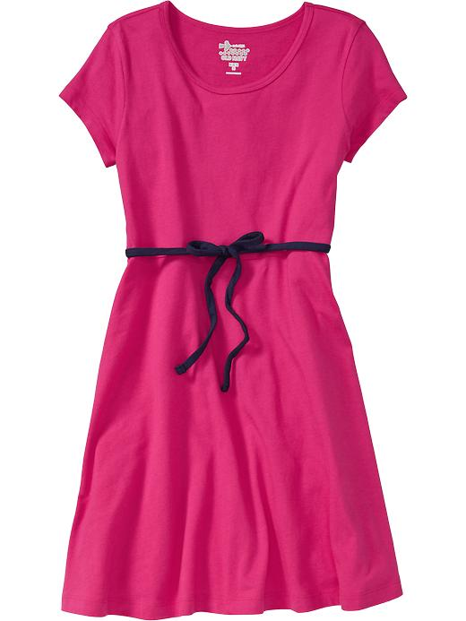Old Navy Girls Jersey Tie Belt Tee Dresses - Fuchsia islands