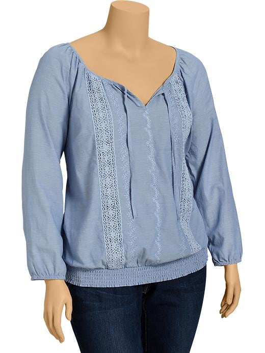 Old Navy Womens Plus Chambray Boho Tops - Mid tone chambray