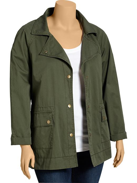 Old Navy Womens Plus Twill Utility Jackets - Forest floor